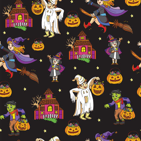 Seamless pattern with cartoon Halloween characters ghost, witch on black background. Vector illustration Halloween concept.For packaging paper, Wallpaper, design, decoration, textiles, design cushion.