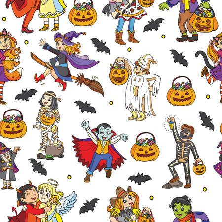 Seamless pattern with characters and Halloween theme