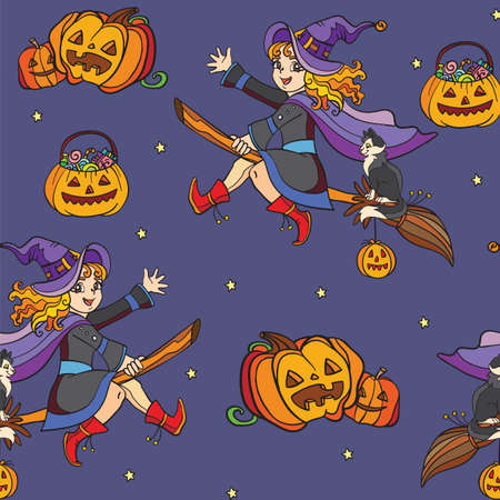Seamless pattern with witch and Halloween theme Vettoriali