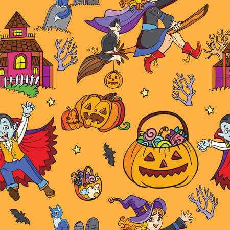 Orange seamless pattern with cartoon Halloween characters Vettoriali