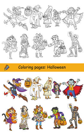 Cartoon halloween illustration. Vector coloring set of happy children in costumes and colored example. Coloring book for children, preschool education, print, game, decoration and stickers.