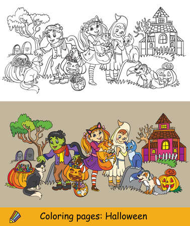 Cartoon halloween illustration. Vector coloring and colored example happy children in costumes of ghost, Lady Cat and monster. Coloring book for children, preschool education, print, game, decoration. Vettoriali
