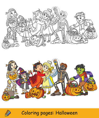 Cartoon halloween illustration. Vector coloring and colored example children in costumes of mummy, witch, skeleton with pumpkins. Coloring book pages for children, preschool education, print and game. Vettoriali