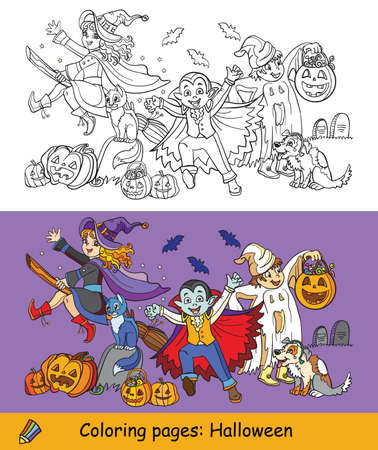 Cartoon halloween illustration. Vector coloring and colored example halloween characters witch, vampire, ghost with pumpkins. Coloring book pages for children, preschool education, print, game, decoration.