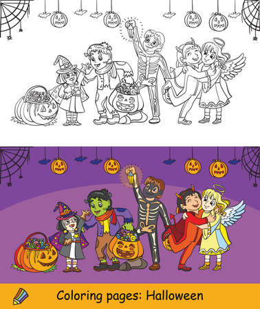 Cartoon halloween illustration. Vector coloring pages and coloring example happy children in costumes celebrating Halloween. Coloring book for children, preschool education, print, game, decoration.