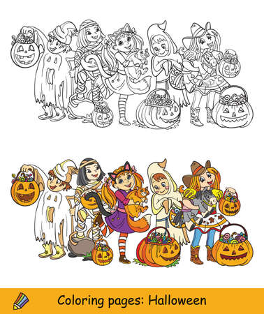Cartoon halloween illustration. Vector coloring pages colored example children in costumes of mummy, cowgirl, ghost. Coloring book for children, preschool education, print and game. Illusztráció