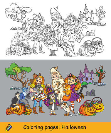 Cartoon halloween illustration. Vector coloring pages and colored example children in costumes of ghost, cowgirl, witch. Coloring book for children, preschool education, print, game, decoration.