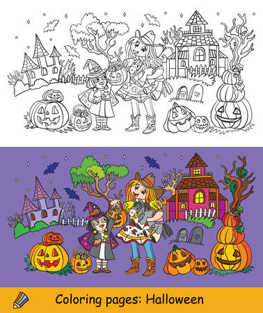 Cartoon halloween horizontal illustration. Vector coloring pages and colored example sisters in costumes of witch and cowgirl. Coloring book for children, preschool education, print, game, decoration. Illusztráció