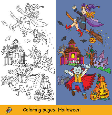Cartoon halloween illustration. Vector coloring pages and colored example happy children in costumes of vampire and witch. Coloring book for children, preschool education, print and game.