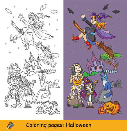 Cartoon halloween illustration. Vector coloring pages and colored example happy children in costumes of mummy and two witches. Coloring book for children, preschool education, print and game. Vettoriali