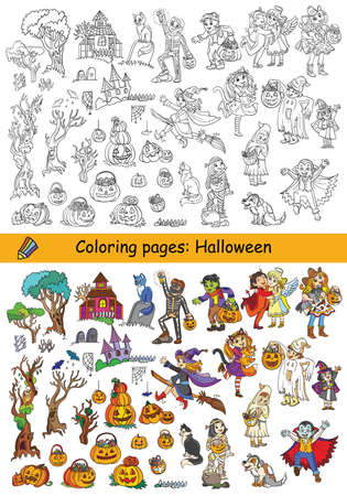 Cartoon halloween illustration. Vector coloring pages and colored example set of children in costumes and different Halloween objects. Coloring book for children, print, game, decoration and stickers.