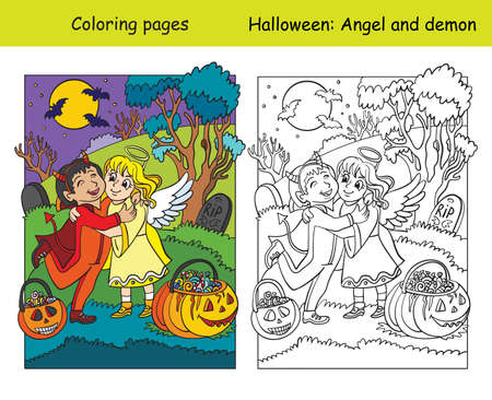 Vector coloring pages with colored example children in costumes of angel and demon hug. Cartoon contour Halloween illustration. Coloring book for children, preschool education, print and game.
