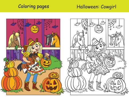 Vector coloring pages with colored example girl in costume of cowgirl in the stable. Cartoon Halloween illustration. Coloring book for children, preschool education, print and game.