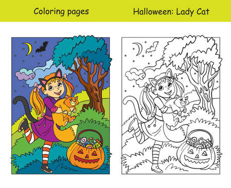 Vector coloring pages with colored example girl in a cat costume holds a cat. Cartoon illustration Halloween concept. Coloring book for children, preschool education, print and game.