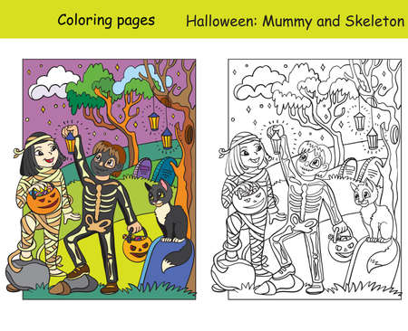 Vector coloring pages with colored example happy children in costumes of skeleton and mummy. Cartoon Halloween illustration. Coloring book for children, preschool education, print and game. 스톡 콘텐츠 - 156285815