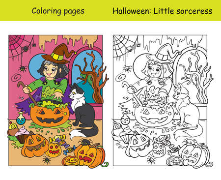 Vector coloring pages with colored example little witch cooks a pot of potion. Cartoon Halloween illustration. Coloring book for children, preschool education, print and game. Vettoriali