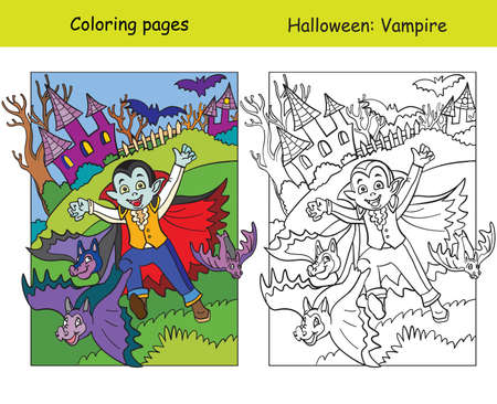 Vector coloring pages with colored example running kid in costume of vampire and bats. Cartoon Halloween illustration. Coloring book for children, preschool education, print and game.