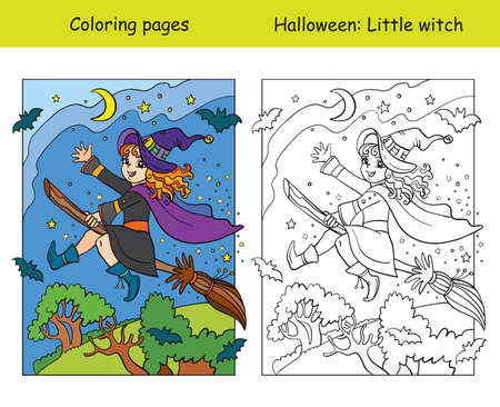 Vector coloring pages with colored example little witch flying on broom. Cartoon Halloween illustration. Coloring book for children, preschool education, print and game.
