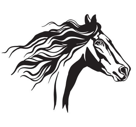 Symbolic image of horse. Decorative portrait vector illustration in black color isolated on white. Engraving template image for design, print and tattoo.