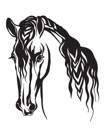 Decorative portrait of horse vector illustration in black color isolated on white. Engraving template image for design, decoration, print and tattoo.