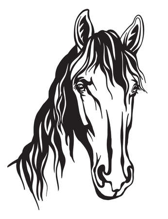 Decorative monochrome portrait of horse vector illustration isolated on white background. Engraving template image for design, home decor, porcelain, print and tattoo.
