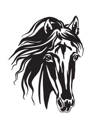 Decorative monochrome portrait of horse head. Vector illustration isolated on white. Engraving template image for design, home decor, porcelain, print and tattoo. Vettoriali