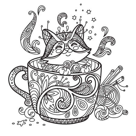 Line art cute cat in a cup. Vector adult antistress coloring page with animal in tangle style. Vector illustration for coloring page. Vettoriali