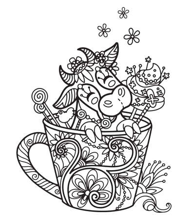 Line art cute cow in a cup. Vector adult antistress coloring page with animal in tangle style. Vector illustration for coloring page. Vettoriali