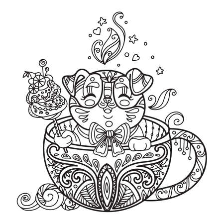Line art cute dog in a cup. Vector adult antistress coloring page with animal in tangle style. Vector illustration for coloring page.