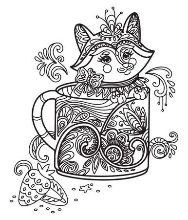 Line art cute fox in a cup. Vector adult antistress coloring page with animal in tangle style. Vector illustration for coloring page.
