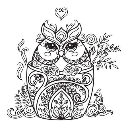 Line art cute owl in a cup. Vector adult antistress coloring page with animal in tangle style. Vector illustration for coloring page.
