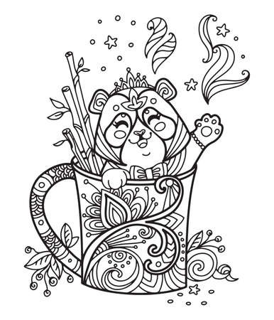 Line art cute panda in a cup. Vector adult antistress coloring page with animal in tangle style. Vector illustration for coloring page. Vettoriali