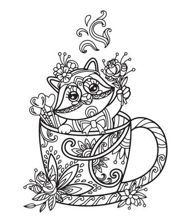Line art cute raccoon in a cup. Vector adult antistress coloring page with animal in tangle style. Vector illustration for coloring page.