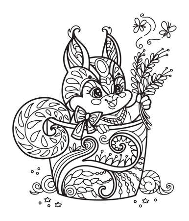 Line art cute squirrel in a cup. Vector adult antistress coloring page with animal in tangle style. Vector illustration for coloring page.