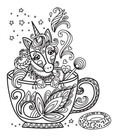 Line art cute unicorn in a cup. Vector adult antistress coloring page with animal in tangle style. Vector illustration for coloring page.