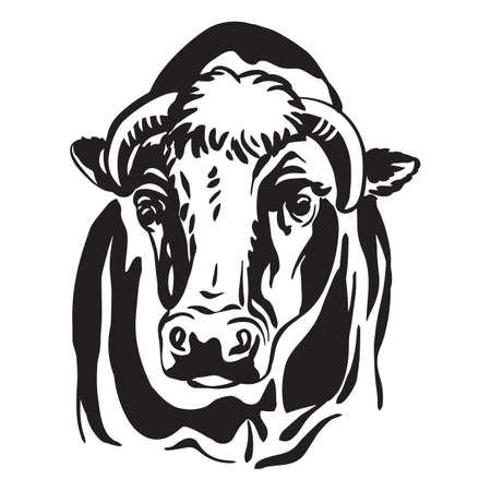 Decorative abstract portrait of bull vector illustration in black color isolated on white background.