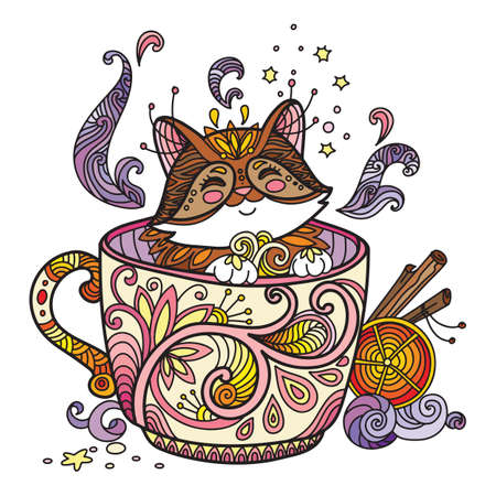 Line art cute cat in a cup. Adult antistress illustration with animal in tangle style. Colorful vector illustration.