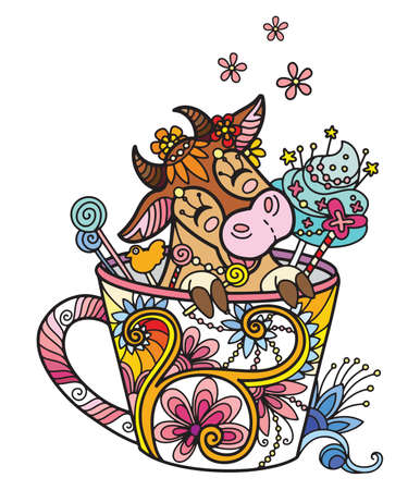 Line art cute cow in a cup. Adult antistress illustration with animal in tangle style. Colorful vector illustration.