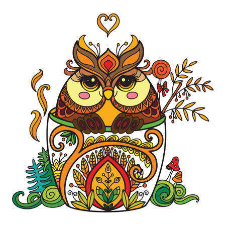 Line art cute owl in a cup. Adult antistress illustration with animal in tangle style. Colorful vector illustration.