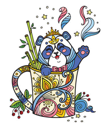 Line art cute panda in a cup. Adult antistress illustration with animal in tangle style. Colorful vector illustration.