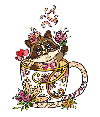 Line art cute racoon in a cup. Adult antistress illustration with animal in tangle style. Colorful vector illustration. Vettoriali