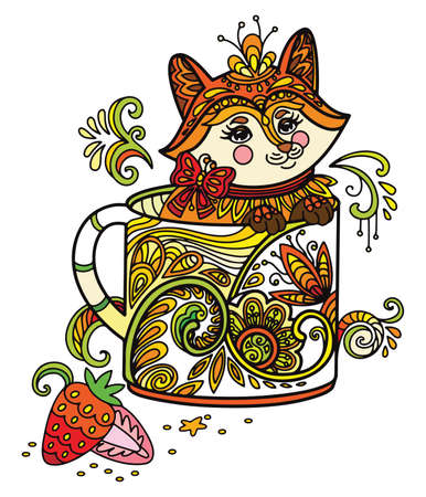 Line art cute fox in a cup. Adult antistress illustration with animal in tangle style. Colorful vector illustration.