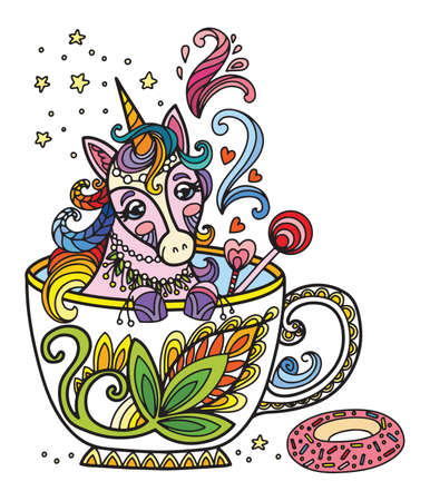 Line art cute unicorn in a cup. Adult antistress illustration with animal in tangle style. Colorful vector illustration. Vettoriali