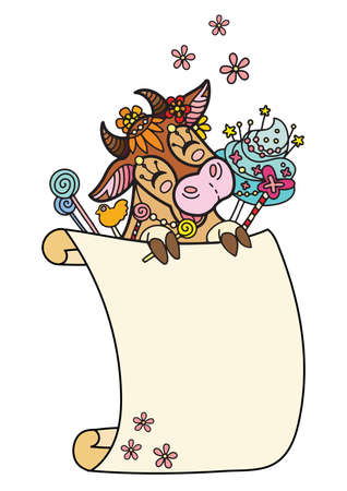 Cute cow with scroll sign template. Colorful vector kawaii illustration with animal in tangle style and empty blank paper template. For print, design, T-shirt, logo, advertising, sale, celebration.