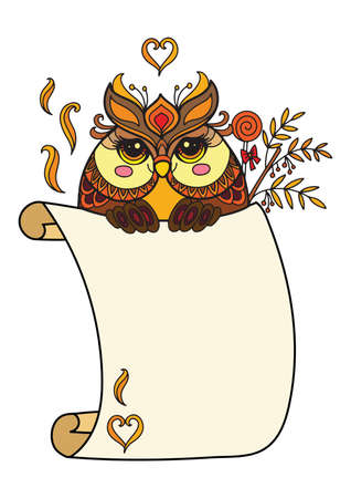 Cute owl with scroll sign template. Colorful vector kawaii illustration with animal in tangle style and empty blank paper template. For print, design, T-shirt, logo, advertising, sale, celebration.