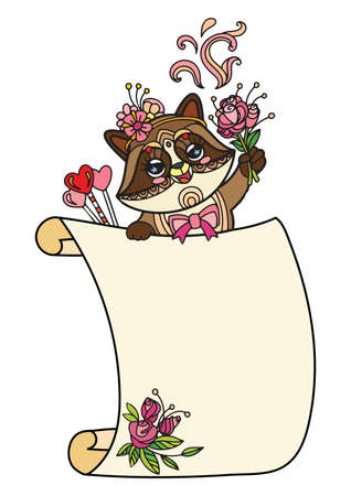Cute racoon with scroll sign template. Colorful vector kawaii illustration with animal in tangle style and empty blank paper template. For print, design, T-shirt, logo, advertising, sale, celebration Vettoriali