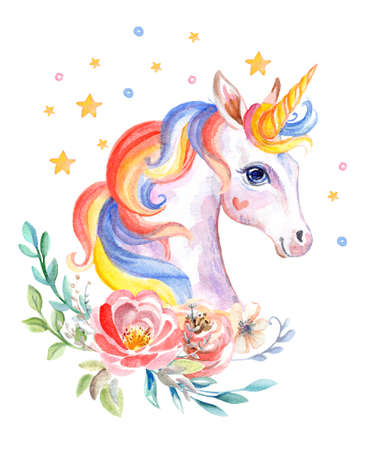 Cute dreaming romantic unicorn with flowers, watercolor illustration isolated on white background for celebration, birthday, baby shower, greeting cards, print, design, wallpaper. Stock illustration Archivio Fotografico