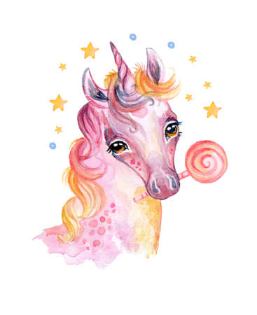 Cute dreaming cozy unicorn with candy and stars, watercolor illustration isolated on white background for celebration, birthday, baby shower, greeting cards, print, design, wallpaper. Stock illustration