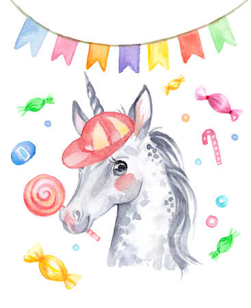 Cute funny unicorn in a cap with candy and holiday flags, watercolor illustration isolated on white background for celebration, birthday, baby shower, greeting cards, print, design, wallpaper. Archivio Fotografico