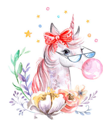 Cute dreaming unicorn in glasses with bubble gum and stars and flowers, watercolor illustration isolated on white for celebration, birthday, baby shower, greeting cards, print, design, wallpaper.
